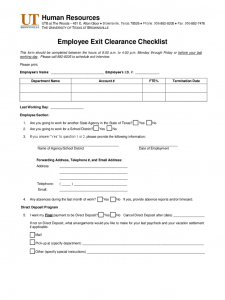 employment contract template word employee exit clearance checklist form university of texas at brownsville d