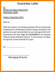 employment letters of recommendation sample letter of guarantee for payment