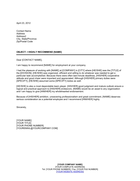 employment reference letter