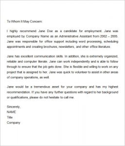 employment reference letter employment recommendation letter for previous employee