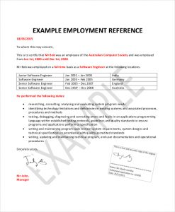 employment reference letter employment reference letters template