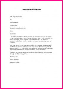 employment reference letter sample inform letter to boss leave letter to manager