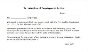 employment termination letter letter of termination
