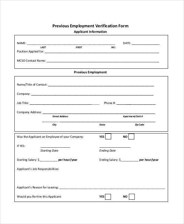 Employment Verification Form | Template Business