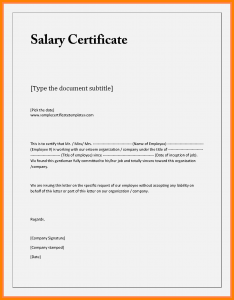 employment verification form template letter of salary certificate salary confirmation request letter doc sample salary certificate letter free salary