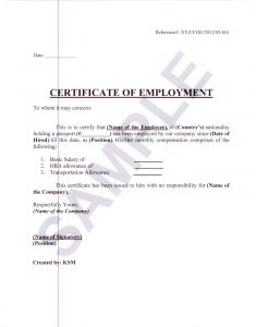 employment verification letter for visa certificate of employment