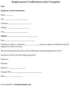 employment verification letter template employment verification letter template