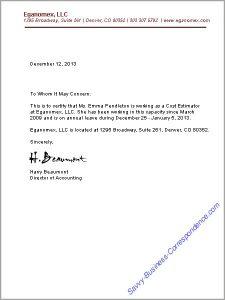employment verification letter template letter of employment verification