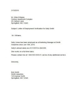 employment verification letter template proof of employment letter