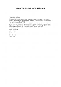 employment verification letter template sample employment verification letter