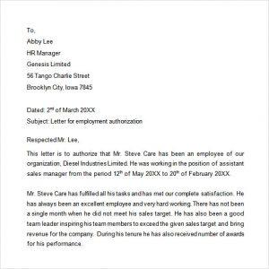 employment verification letter template word sample employment authorization letter