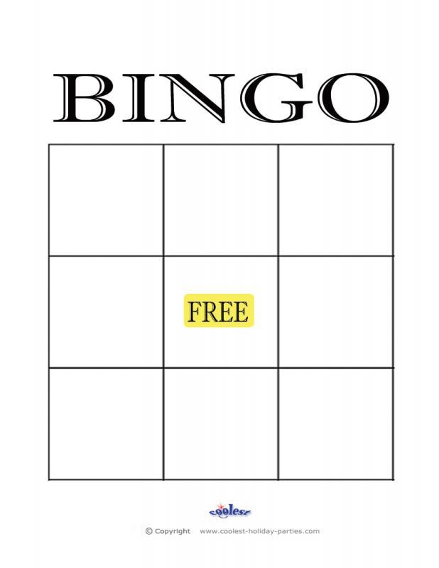 empty bingo card