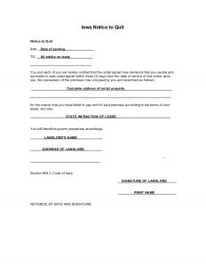 end of lease letter to tenant from landlord eviction notice iowa