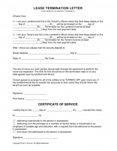 end of lease letter to tenant from landlord lease termination letter form x