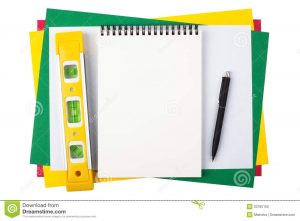 engineering paper template notebook level black pen colored paper yellow ballpoint sheets composition isolated white background