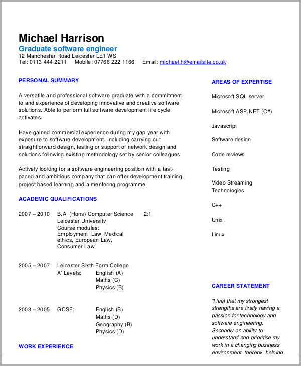 engineering resume template