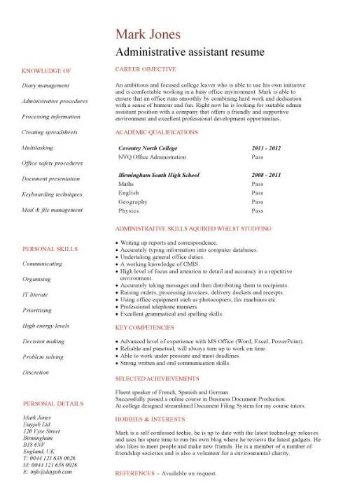 entry level administrative assistant resume