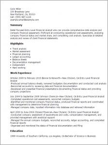 entry level data analyst resume entry level financial analyst
