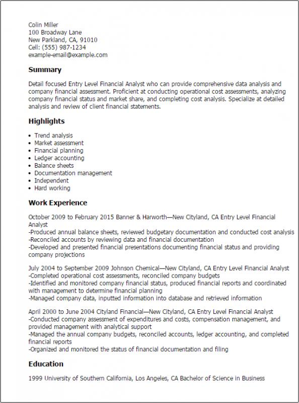entry level data analyst resume