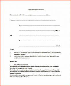 equipment rental agreement equipment rental agreement equipment hire agreement doc free download