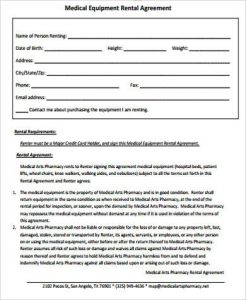 equipment rental agreement medical equipment rental agreement example