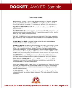 equipment rental agreement sample equipment lease form template