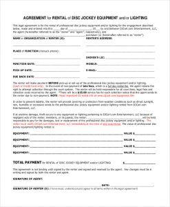 equipment rental contract dj equipment rental contract