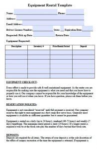 equipment rental contract equipment rental agreement template