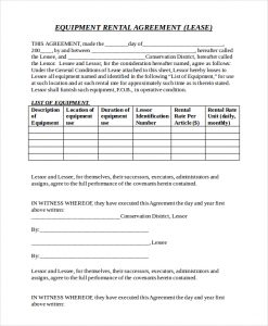 equipment rental contract free equipment rental agreement doc format download
