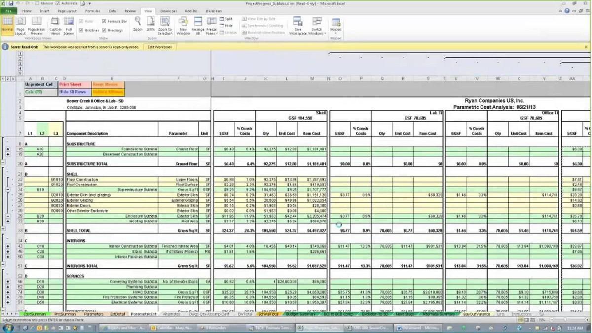 estimate template excel