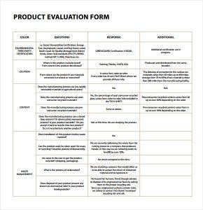 evaluation form template product evaluation pdf