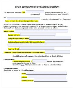event planner contract free event contract template