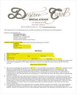 event planner contract sample event planner contract agreement