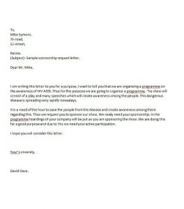 event sponsorship letter sponsorship letter template