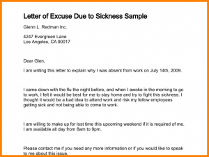 eviction letter sample excuse letter sample for being absent in work letter of excuse due to sickness sample