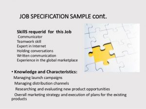 example business plans presentation on job specification