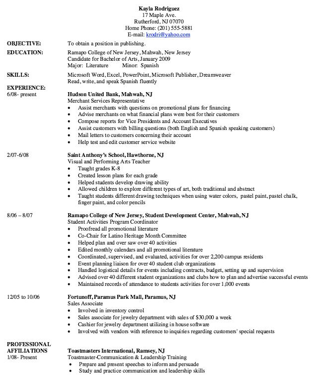 example college resume