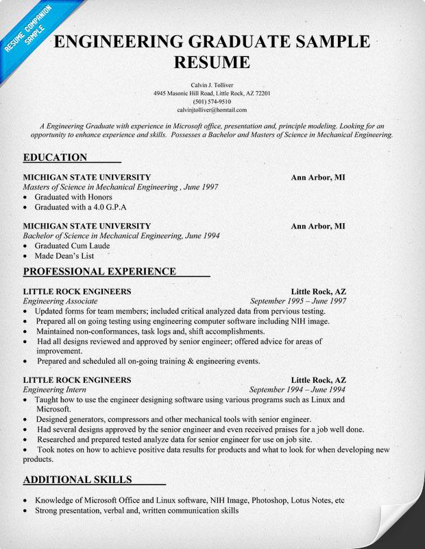 example engineering resume