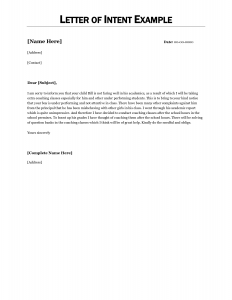 example letter of intent letter of intent template job