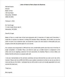 example letter of intent sample business letter of intent to rent or lease a space for free