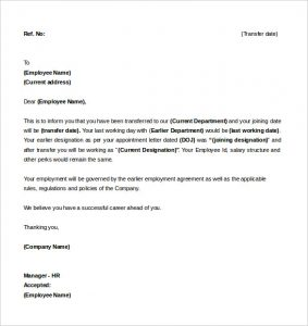 example letter of intent sample of letter of intent for a job transfer template download