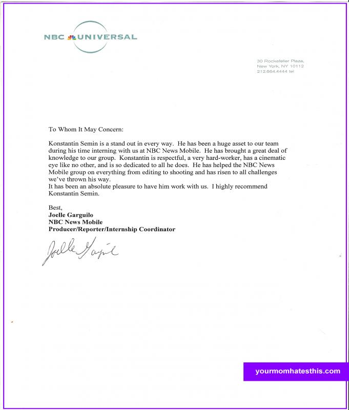 example letters of recommendation