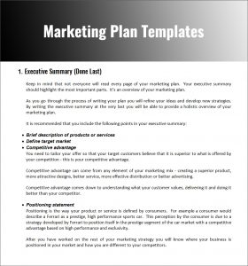 example of a marketing plan marketing plan templates