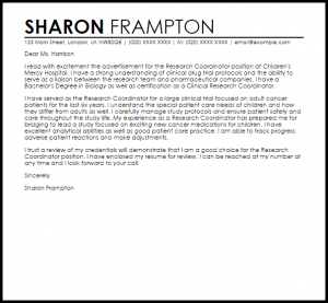 example of a reference letter research coordinator