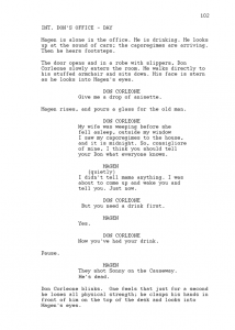 example of a script sample script page