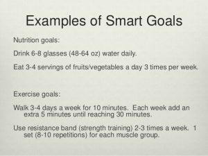 example of a smart goal good nutrition the recipe for a healthy life