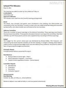 example of meeting minutes meeting minutes template
