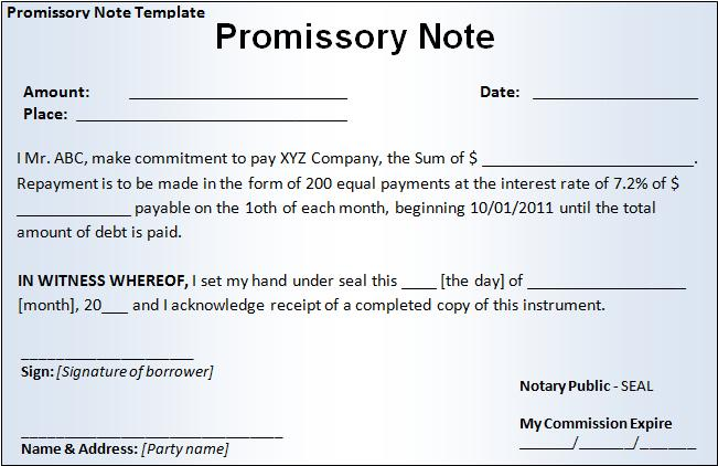example of promissory note
