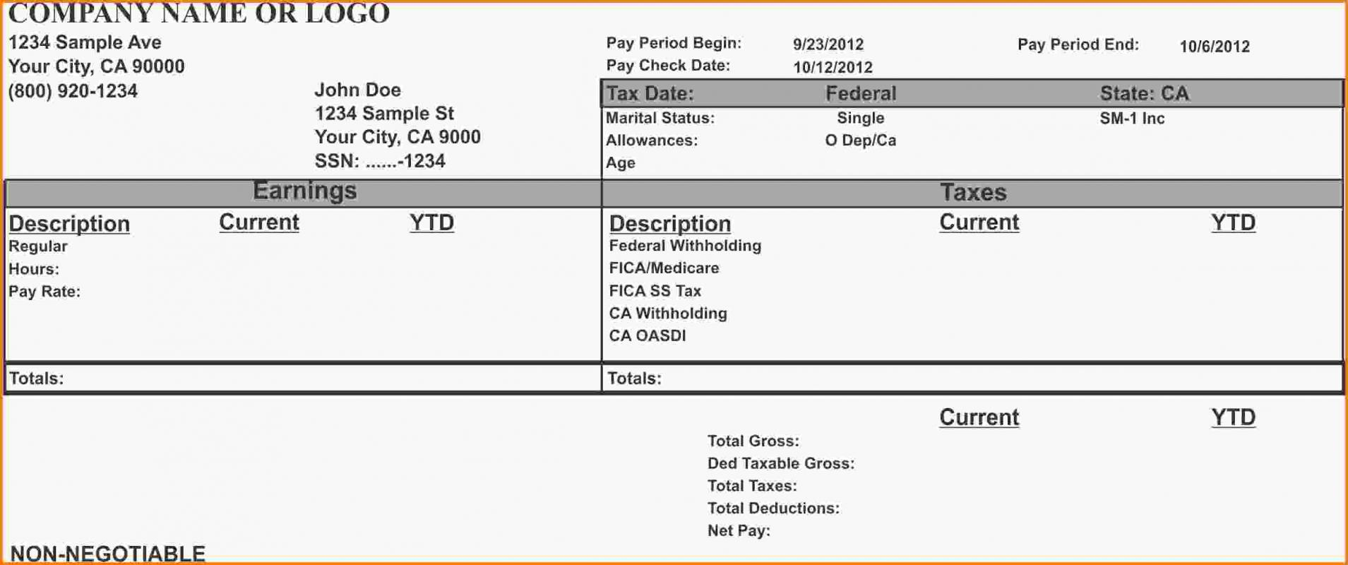 Example Pay Stub | Template Business