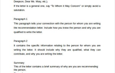 example reference letter recommendation letter format example